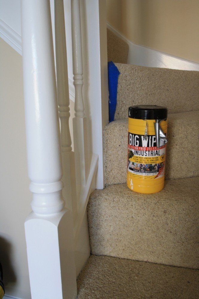 Are Big Wipes any good - a blog by GS Decorating Multi Purpose tub on stair