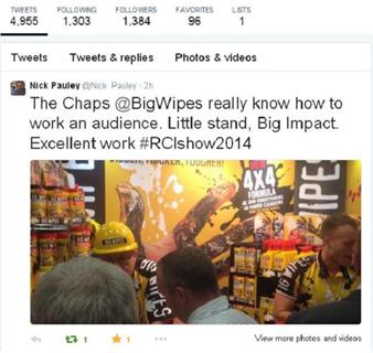 RCI Show 2014 - Big Wipes were a Big Hit Nick Pauley Tweet