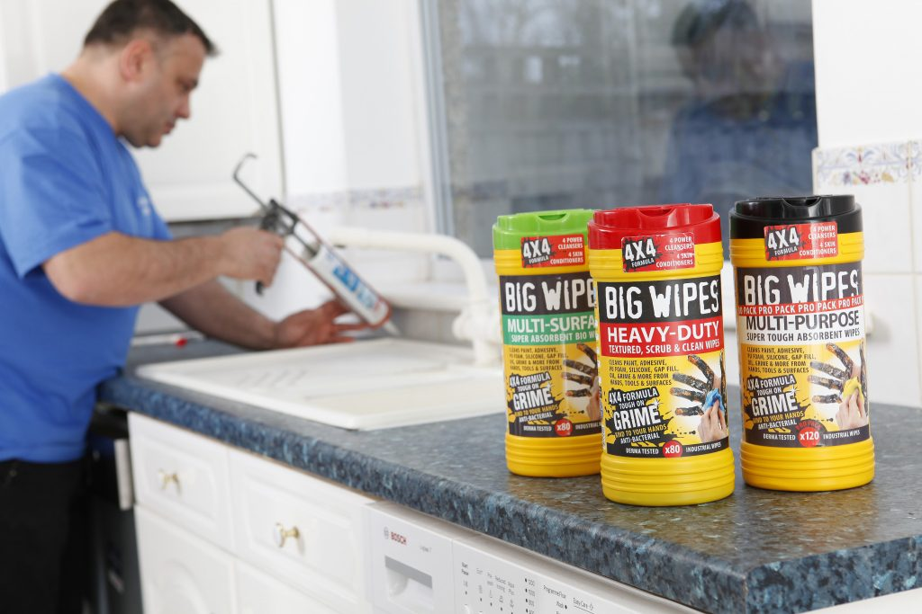 Professional builder uses Big Wipes industrial wipes