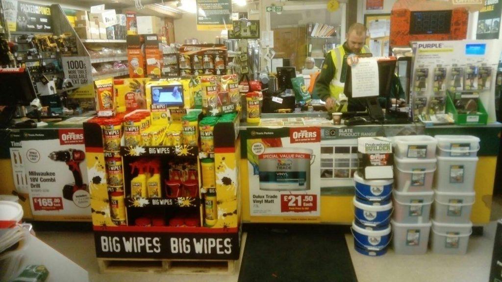 Builders Merchants Big Wipes Half Pallet POS