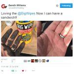 Gareth tests Big Wipes...