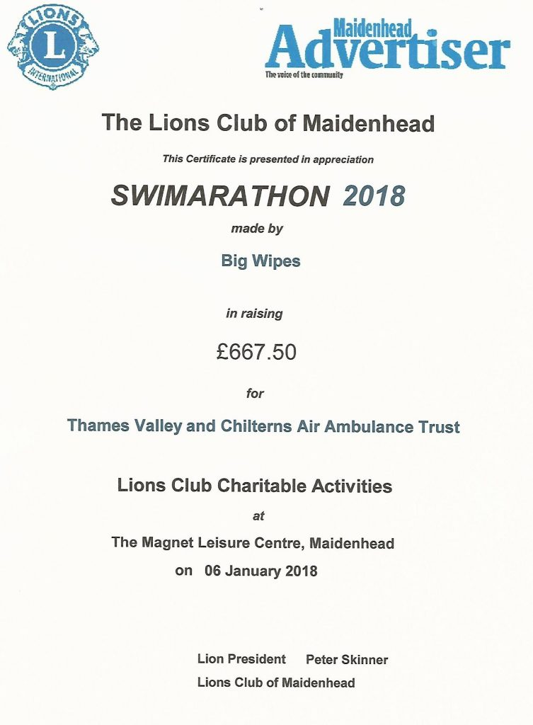 Swimarathon Big Wipes team raises money for charity