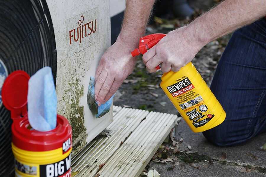 Big Wipes antibacterial wipes Damage control with Big Wipes PowerSpray cleaning aircon
