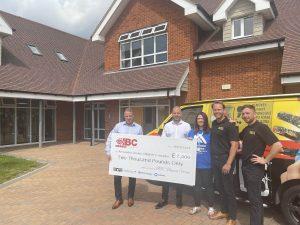 Big Wipes and Alexander Devine Children's Hospice Cheque